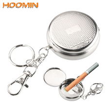 Cigarette-Ashtray Key-Chain Stainless-Steel Portable Mini with Vehicle