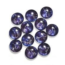 LIEBE ENGEL 10Pcs Zodiac Pattern Glass Round 12mm Cabochons Dome Flat Back Jewelry Making Handmade DIY Findings 12 Horoscopes