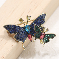 Korean Style Korean Inlaid Stone And Butterfly Brooch Insects Pin blue yellow color fashion women jewelry free shipping