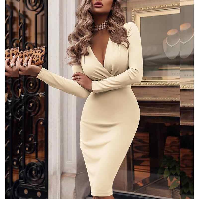 Sexy V Neck Dress Women Solid Knee-Length Bodycon Work Dress Long Sleeve  Club Elegant d687ae9d091f