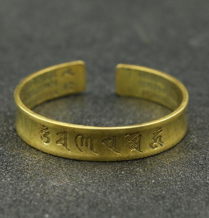 Collection Chinese Brass Carved Word Buddhism Heart Meridian Exquisite Bracelet Statue Gift