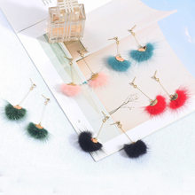 6 Colors mink pompom earrings for women fashion white blue black rhinestone long plush earrings girl jewelry(China)