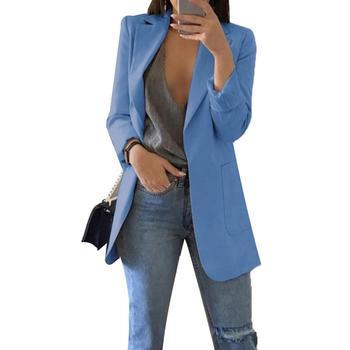 7132885ee De moda Casual de las mujeres giro-abajo Collar de sólido Regular Fit de  manga larga con bolsillo de chaqueta Outwear