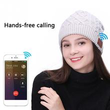 Unisex Cuffie Bluetooth Senza Fili di Musica Degli Uomini Del Cappello  Berretti Caldi di Inverno Lavorato df153bc2002f