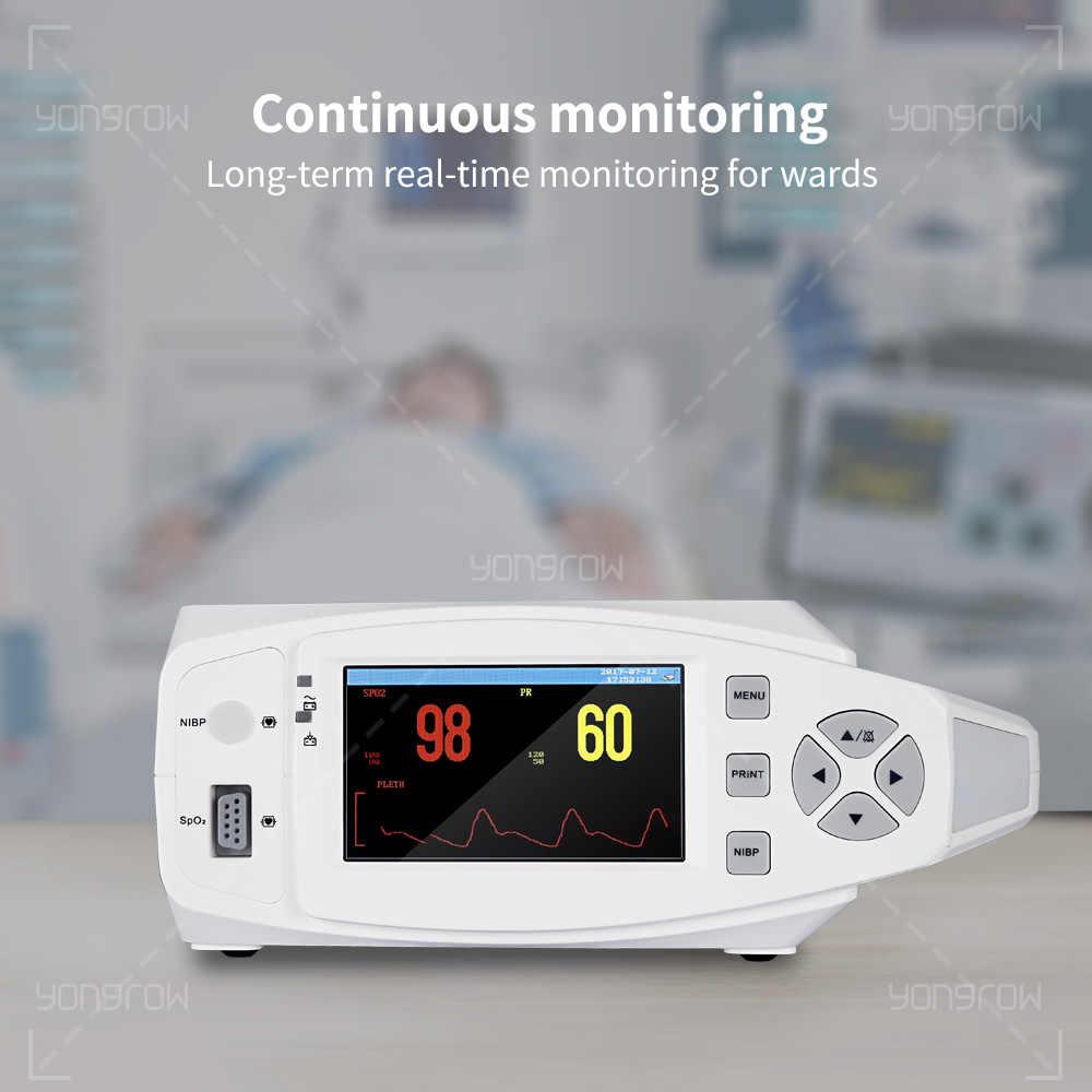 Yongrow רפואי נייד ניטור סימנים חיוניים צג לחץ דם Oximeter SPO2 דופק שולחן מטופל