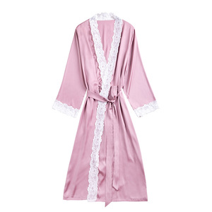 Image 2 - 2019 Summer Satin Robes For Brides Wedding Lace Robe Sleepwear Silk Pijama Long Nightgown Women Bridesmaid Kimono Bathrobe