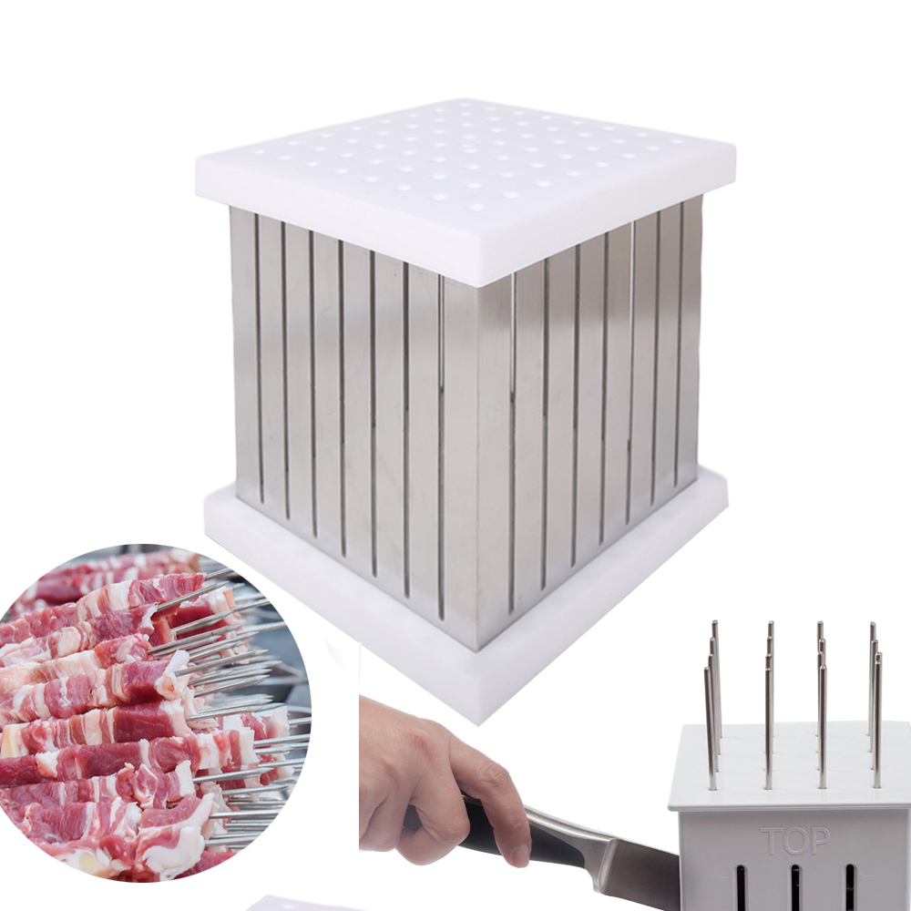 64 Holes BBQ Skewers Kebab Maker Box Barbecue Tool Kebab Skewer Machine Brochette Slicer BBQ Beef Forks Meat Maker For Kitchen in Food Processors from Home Appliances