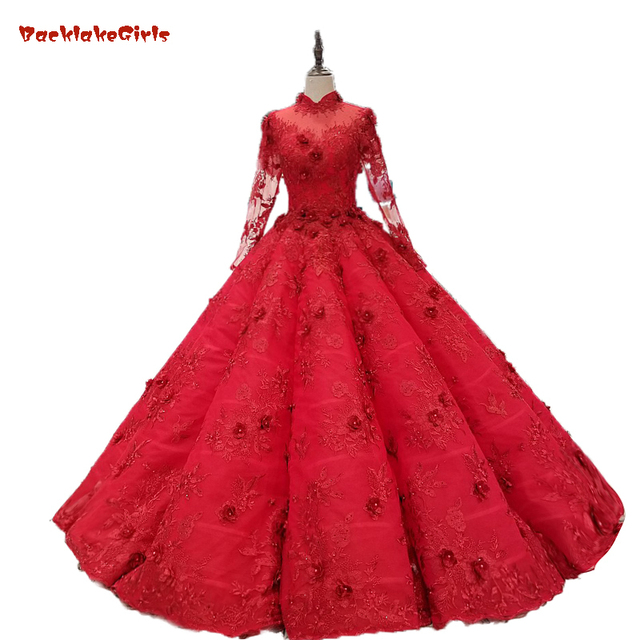 496da0ccded Long Sleeves Flowers Elegant Princess Bridal Gowns Vintage Red Lace Ball  Gowns Wedding Dresses 2018 Merry Custom Made High Neck