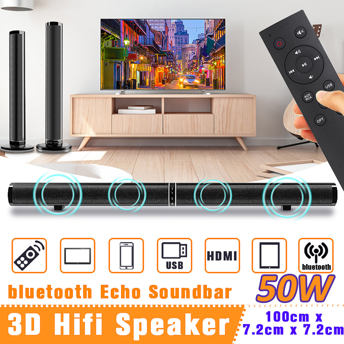 50 W sans fil bluetooth TV barre de son haut-parleur Sub Woofer Surround stéréo Home cinéma système ordinateur accrocher mur barre de son