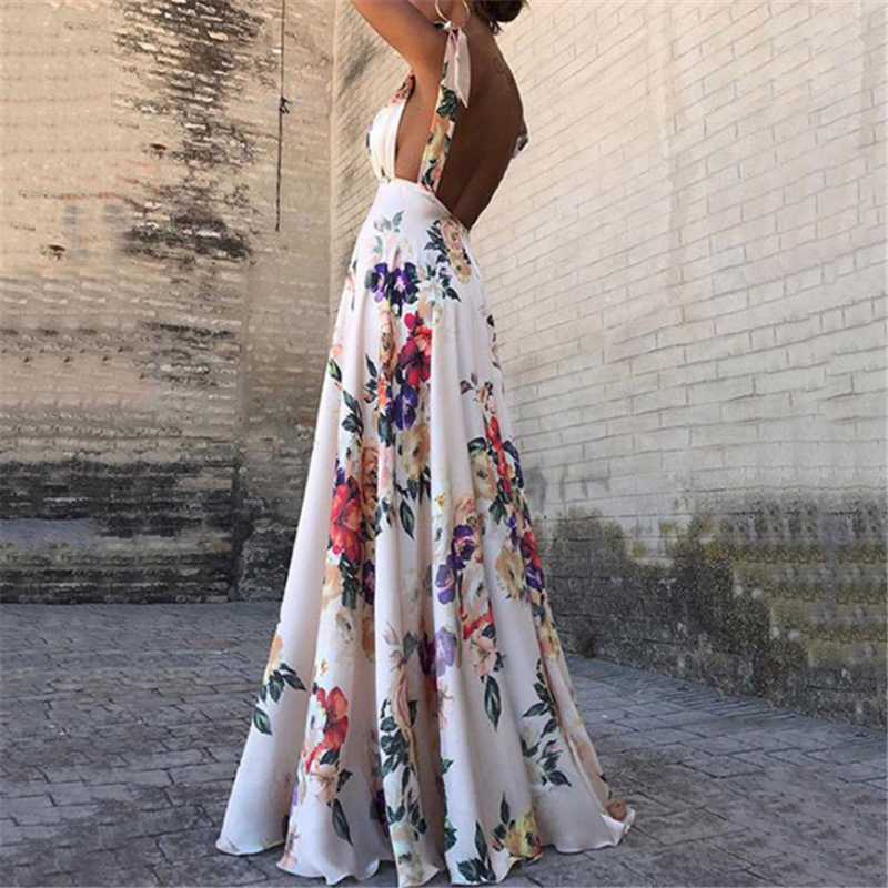 Floral Print Dresses Women Summer Sleeveless V-Neck Backless Vintage Long Boho Party Cocktail Casual Loose Beach Pink Dress 2019