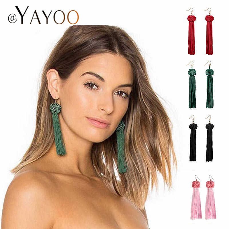 Handmade Long Tassel Earrings 2019 Bohemian Hanging Fashion Earrings For Women Statement Silk Fringed Dangle Earring Gift