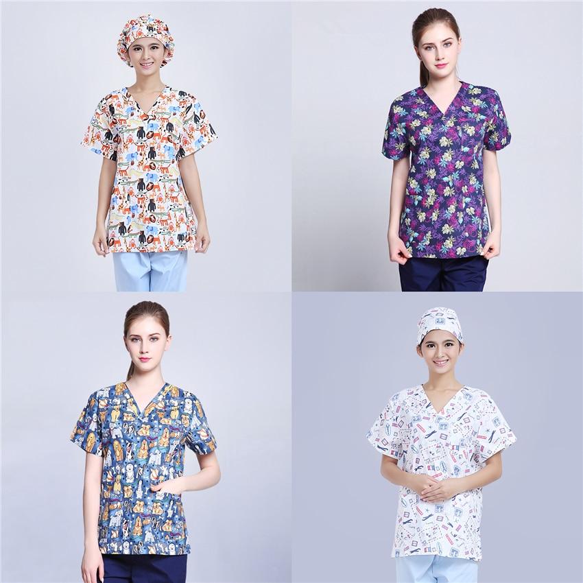 Scrubs Medical Uniforms Women Nurse Scrub Tops Doctor Work Clothes 100$%Cotton Print Hospital Clinical Surgery Uniform