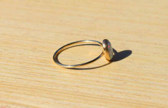 מעדן כסף צבע זהב סגלגל אש אופל טבעות לנשים כלה חתונת אירוסין פשוט תכשיטי מתנות