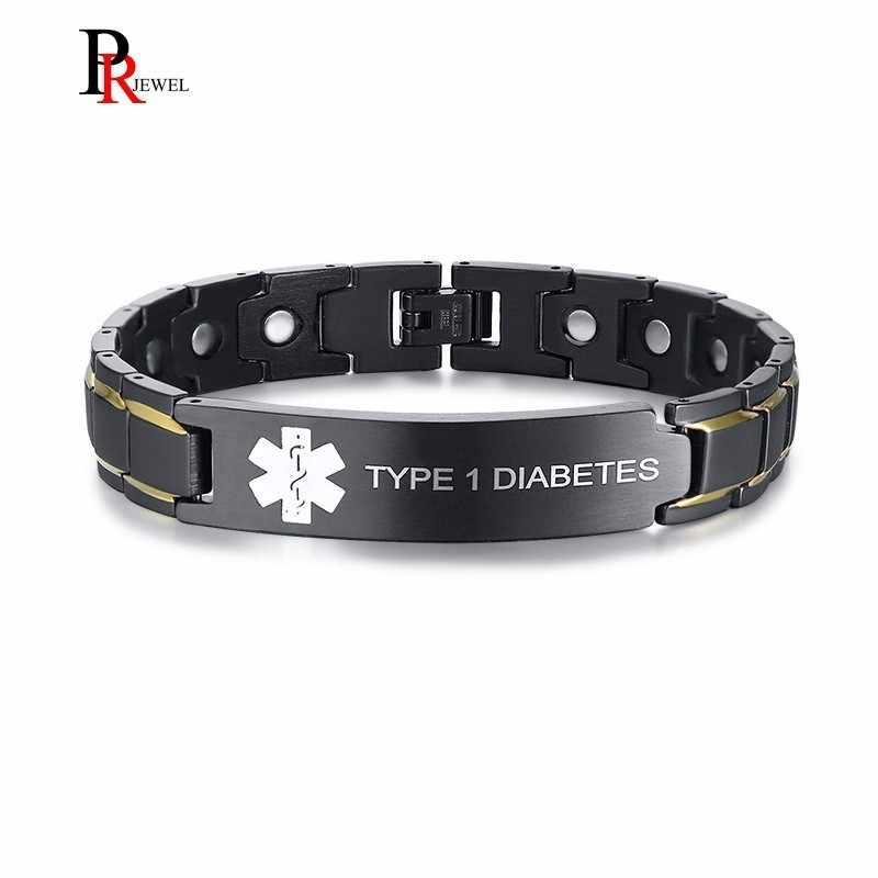 6141324c8c6c Pulseras bioenergéticas para hombres con identificación de alerta médica de DIABETES  tipo 1 grabado personalizado nombre