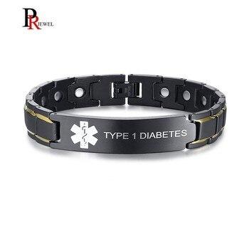 36b9a9b685b0 Pulseras bioenergéticas para hombres con identificación de alerta médica de DIABETES  tipo 1 grabado personalizado nombre de la enfermedad pulseira ...