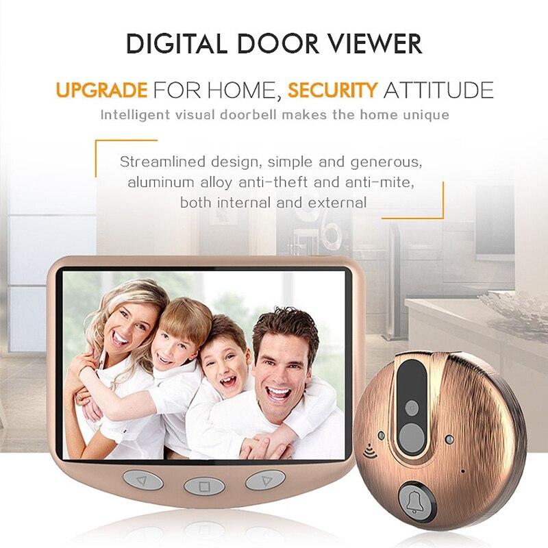 4.3 pouces Lcd écran couleur visionneuse de porte vidéo-oeil Ir Vision nocturne porte visuelle judas caméra Photo/vidéo numérique sonnette Cam