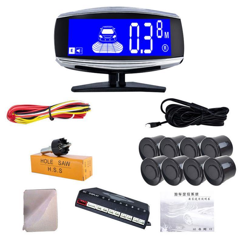 LCD Dual Display 4/6/8 Parkplatz Sensor Auto Auto Fahrzeug Umkehr Radar Monitor LCD Blauen Bildschirm Display vorne Und Hinten Abstand