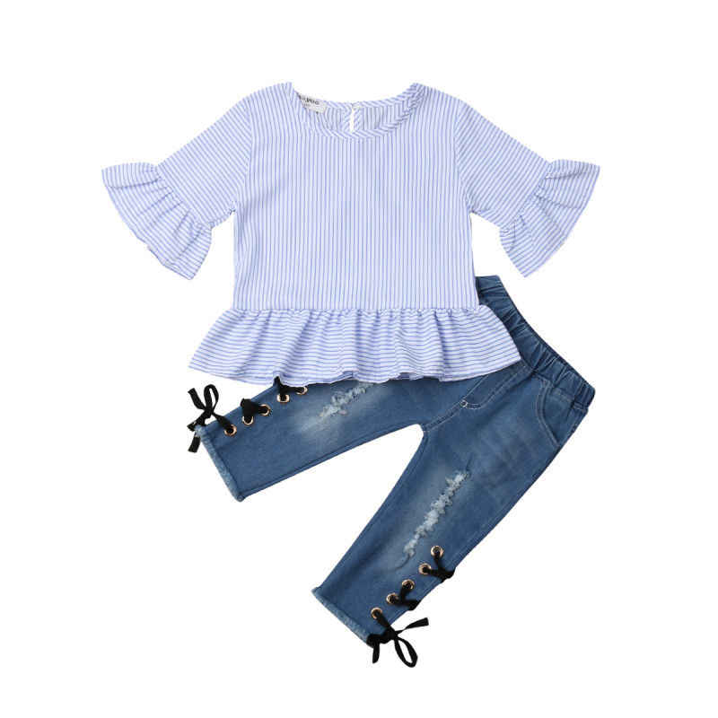 0e9444a93 Moda niños pequeños bebé niña manga acampanada rayas camiseta Tops ...