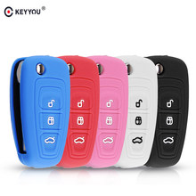 KEYYOU Flip Remote Car Key Case Silicone Cover For Ford Ranger C-Max S-Max Focus Galaxy Mondeo Transit Fiesta Escape Ecosport(China)
