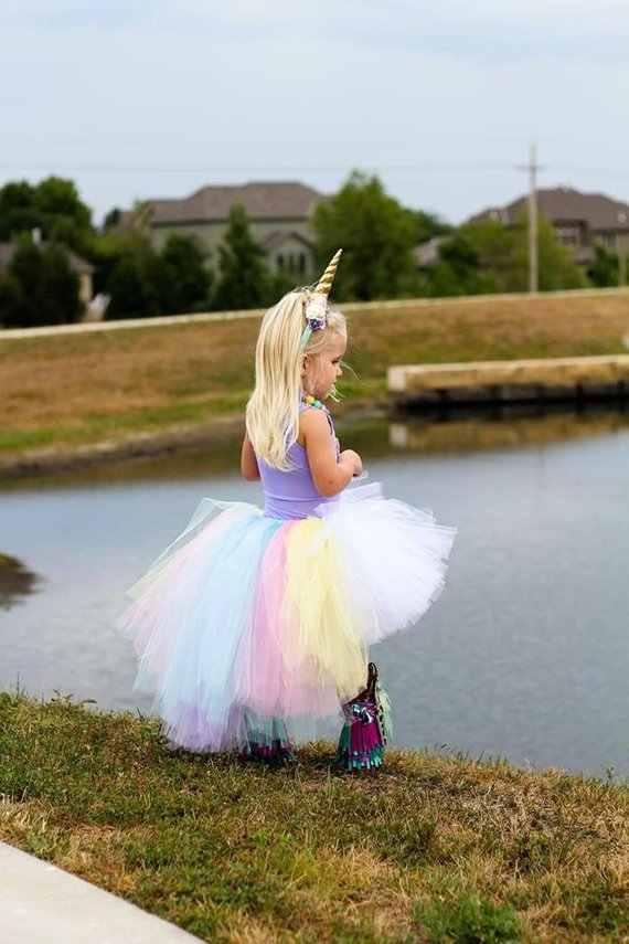 5c12bf4aa ... POSH DREAM Pastel Unicorn Girls Tutu Skirt Colorful Easter Hi Low Tutu  Skirt for Photo Prop ...