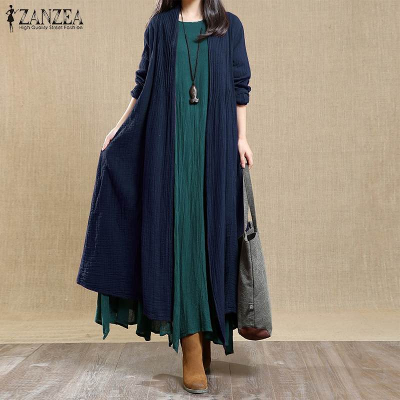 ZANZEA 2019 Plus size Vintage Cotton Linen Coats   Trench   Women Open Stitch Pleated Cardigans Outwear Overcoat Femme Windbreakers