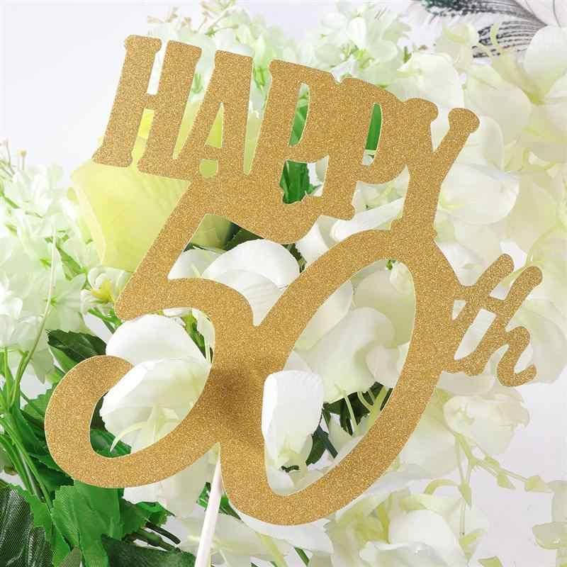12 Uds. Toppers feliz 50 fuentes de fiesta Cupcake Toppers tarta, Insertar tarjeta para la decoración de la boda del aniversario de cumpleaños