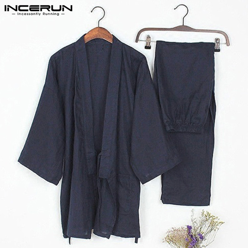 Japanese Mens Kimono   Pajamas   Suits Male Robe Gown 2Pcs/  Set   Lounge Bathrobe Sleepwear Loose Man Cotton Comfortable   Pajamas   Hombre