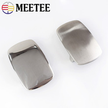 Meetee 39mm Stainless Steel Belt Buckles Metal Brushed Smooth for Mens Waistband Head DIY Jeans Accessories Leather Craft AP389