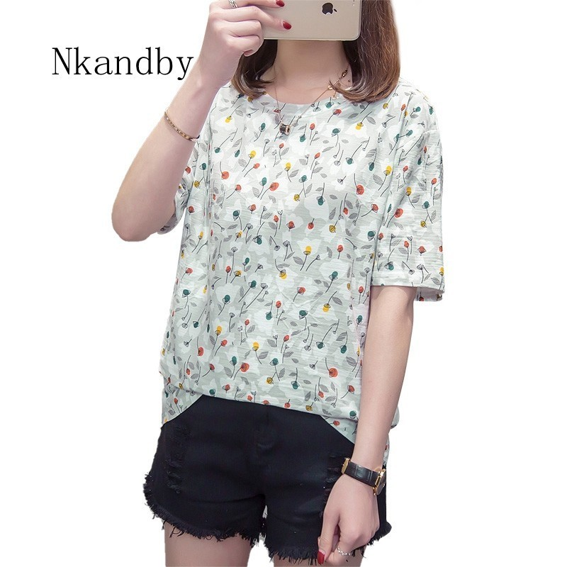 Bamboo Cotton Plus Size Women T Shirt Summer Clothing Printing Loose Woman Top Tees Casual Short Sleeve Oversized Ladies Tshirt