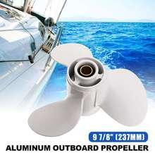 Barco fuera de borda de la hélice 664-45947-01-EL 9 7/8×11 1/4 de aluminio para Yamaha 20-30HP blanco R ROTACIÓN DE 3 hojas 10 Spline diente