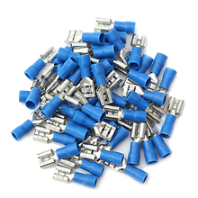 цена на 50 Pair Female&Male Spade Semi Insulated Electrical Crimp Terminal Connector Kit Blue