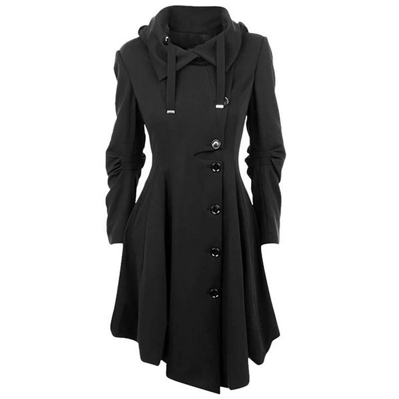 Irregular Hem Double-faced Coat Fashion Women Hooded Solid Color Button Slim Fit Long Sleeve Spring And Autumn Windbreaker