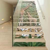 13pcs Stairway Sticker 18x100cm 3D Painting Giraffe Stairs Stickers Floor Wall Decor Decals Sticker Living Room Decoration