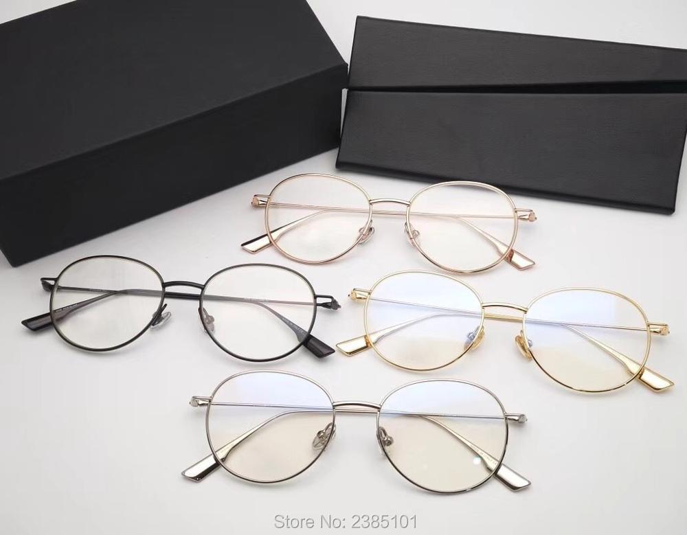2019 rétro pour les femmes hommes lunettes cadre de conception de marque de luxe en métal ronde lunettes cadre Protection nerd lunettes transparentes