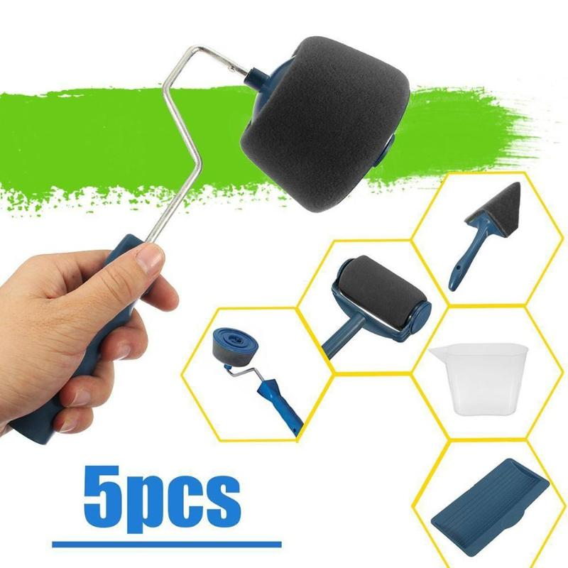 5Pcs/set Multifunctional Paint Roller Household Use Wall Decorative  Brush Handle Tool DIY Easy to Operate Painting Brush Tools