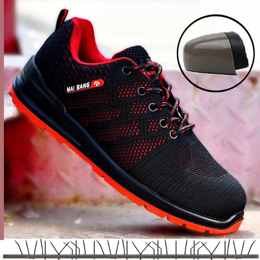 Segurança Respirável Couro Black Tênis Trabalho Dos Indestrutível blue Homens red Leves Para De Homem Aço Borracha Casual Biqueira Sapatos zx7wR6