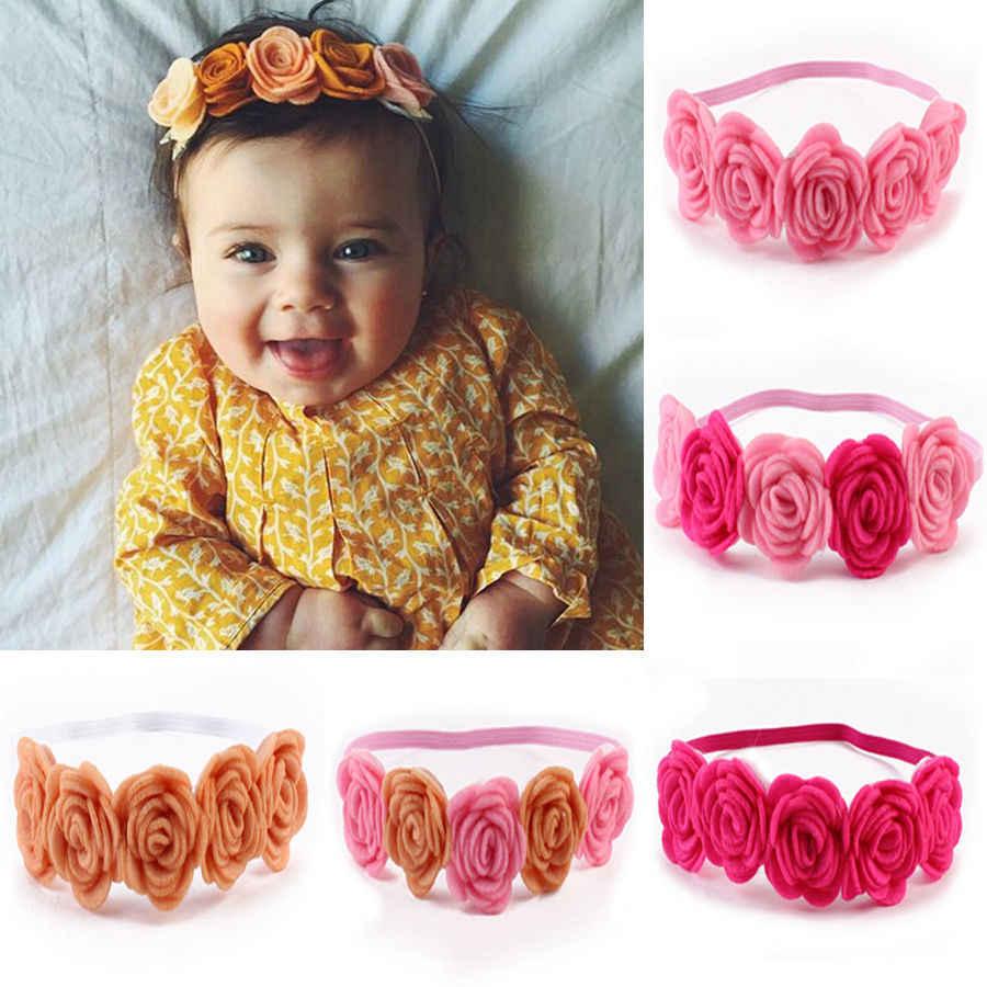 Новое поступление, Высококачественная повязка-тюрбан для головы с розами, головной убор для новорожденных, аксессуары для волос, милый цветочный головной убор