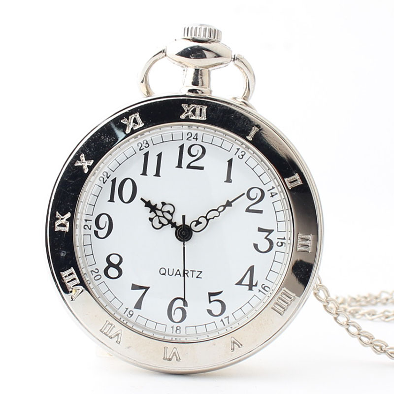 Pocket & Fob Watch Silver Roman Numbers Quartz Pocket Watch Necklace Pendant Watch for Men/Women