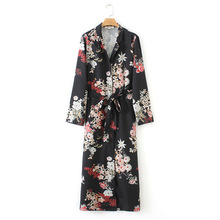 Dress women 2019 Spring long sleeve dress Flowers printed shirtdress Vestidos Plus size dresses Black Womens clothes