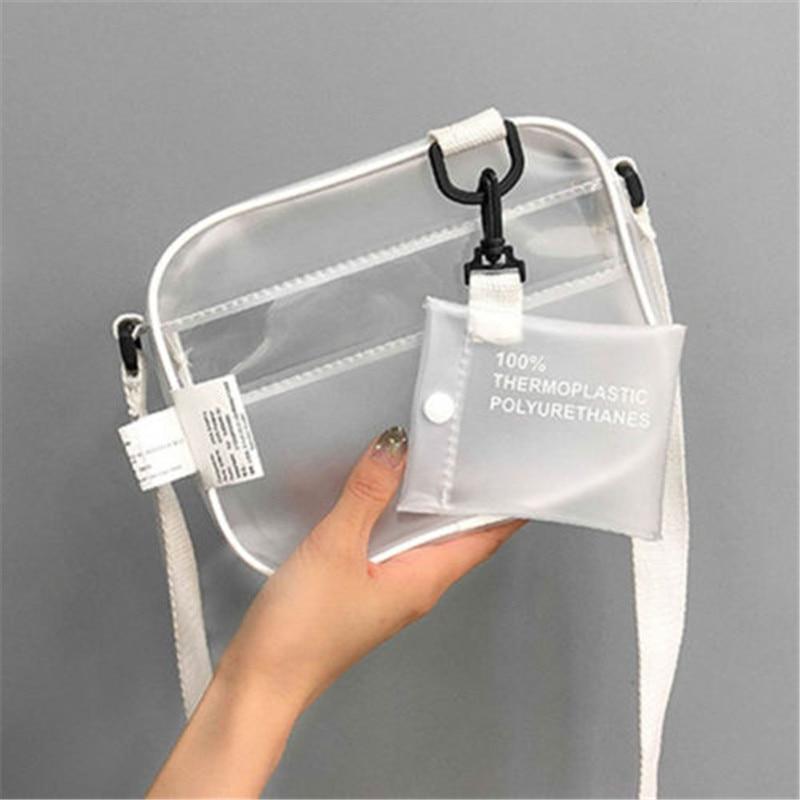 Hot New PVC Clear Jelly Bag Transparent Messenger Bag Handbags Women's Fashion Flap Style Shoulder Bag Leather Casual Handbag