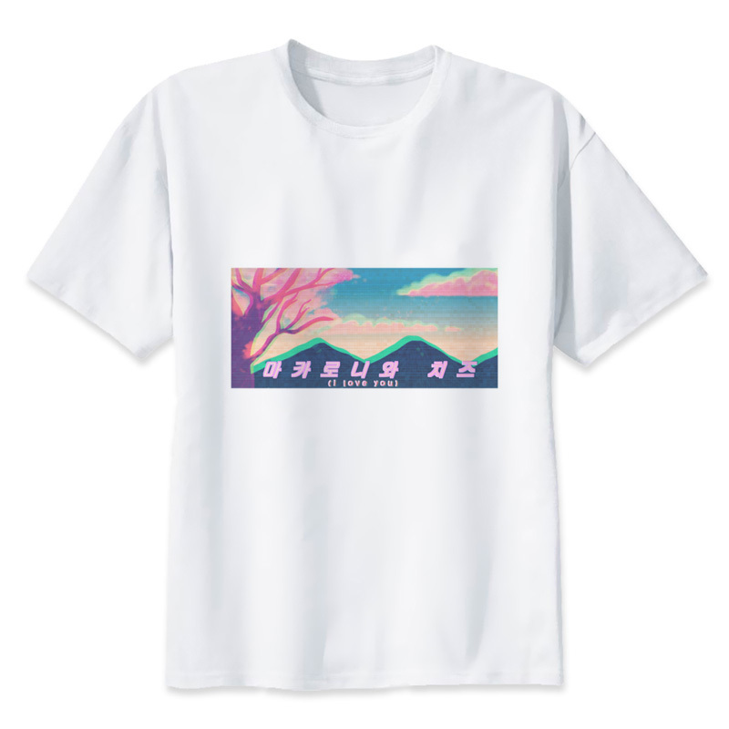 Vaporwave Streetwear Man O-neck Tee Aesthetic Hipster Streetwear Cool Tops Men Funny T Shirts Summer Fashion Shirt Men