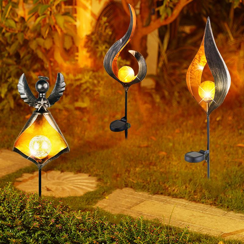 LED Retro Solar Simulate Flame Lawn Lamp for Outdoor Garden Landscape Decor