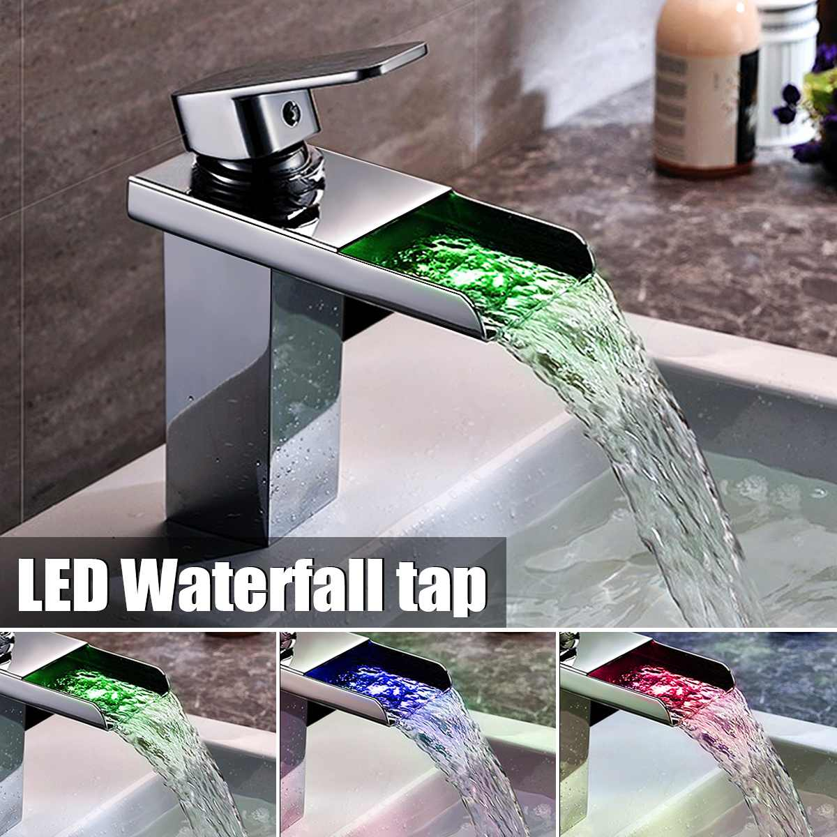 LED Color Waterfall Basin Faucet Chrome Polished Single Handle Faucet Bathroom Bathtub Deck Mounted Cold And Hot Water Mixer Tap