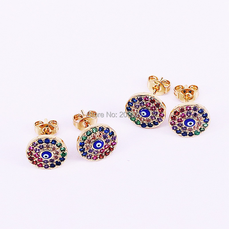 8Pairs Wholesale New Arrival Cubic Zirconia Micro Pave For Women Jewelry Unique Design Round Shape Stud