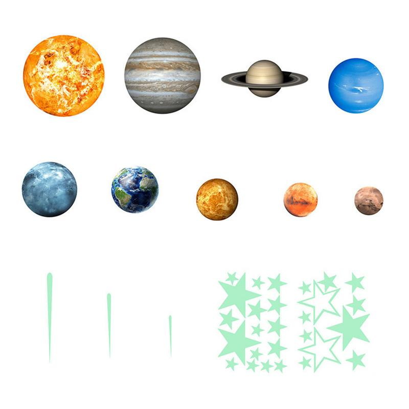 Super Bright Solar System Luminous Stickers Star Stickers Children's Room Decoration Self Adhesive Environmentally Friendly