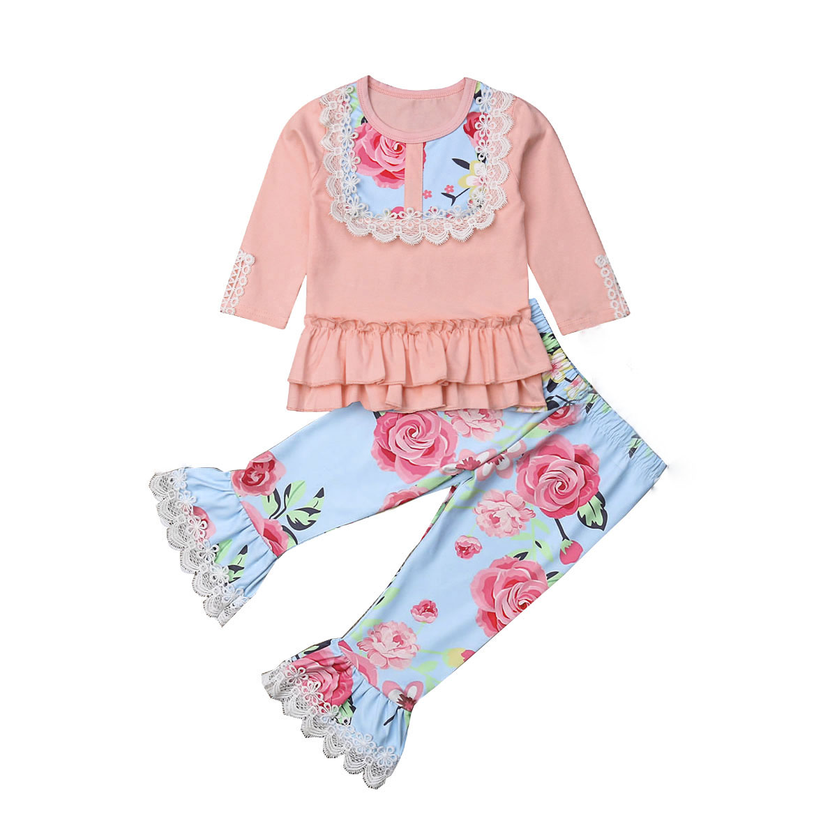 Cute Kids Girl Clothes Set Flare Ruffle Long Sleeve Tops and Leggings Pants 2pcs Outfits
