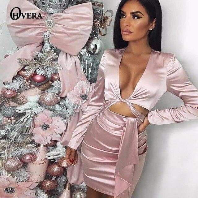 Kylie Jenner Satin Rose Red Wrap Bandage Dress Women Bodycon Autumn Dress Vestidos Mini Sexy Party Dresses Elegant 1