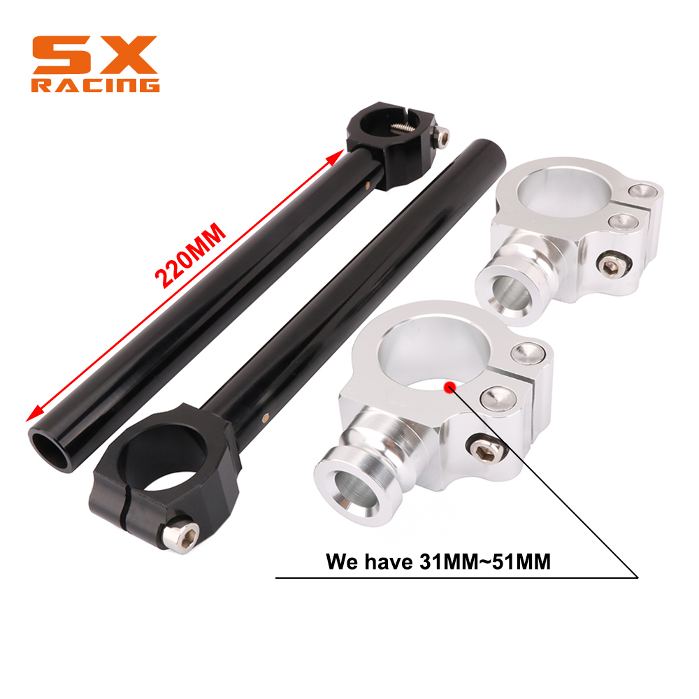 42mm Universal CNC Clip-On Handlebars Racing Fit For Motorcycle Fork Tubes
