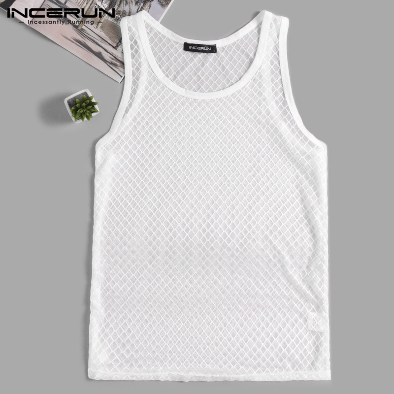 Brand Fashion Transparent Sexy Tank Casual Tee See Through Men Tank Tops Male Camiseta Night Club Dance Unisex Men Clothes