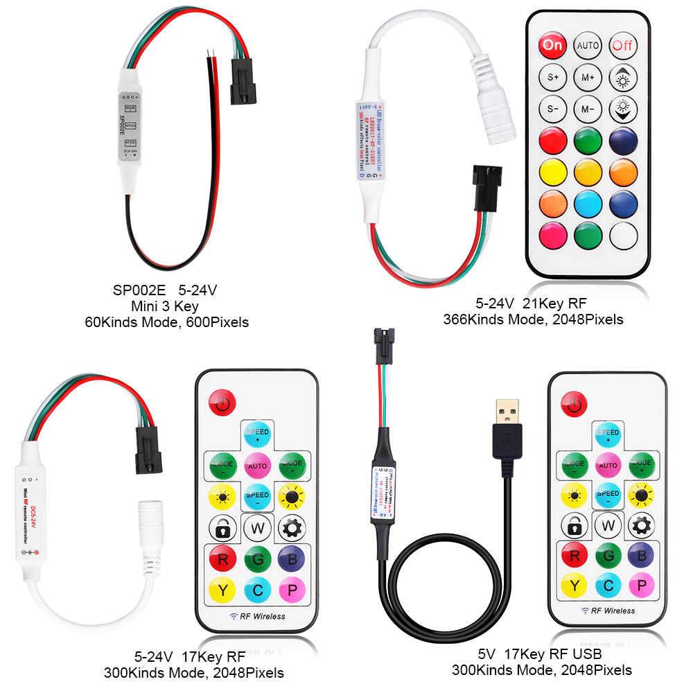 5-24 V ws2811 ws2812 kontroler Mini 3Key RF 17Key 21Key muzyki Bluetooth kontroler Wifi kontroler dla Led pasek pikseli ws2812 SP110E SP107E
